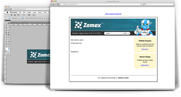 Zomex email template