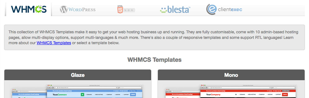 web hosting templates affiliates integration