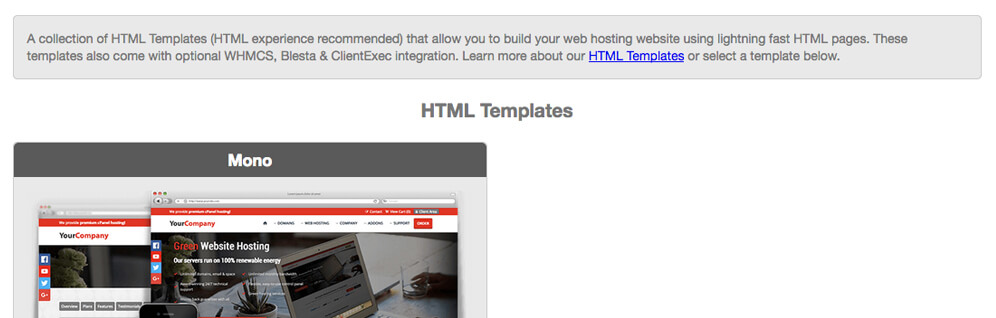 html templates affiliates integration