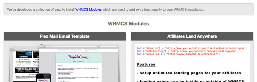 whmcs modules affiliates integration