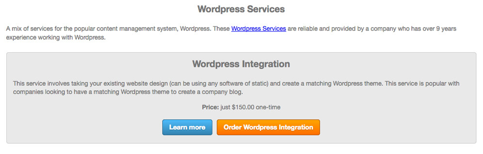 wordpress services affiliates integration