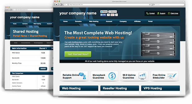 Premium WHMCS Theme - Blue Blaze | A quality web hosting template