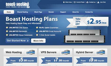 custom web hosting template