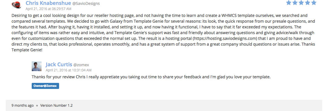 Galaxy WHMCS template reviews