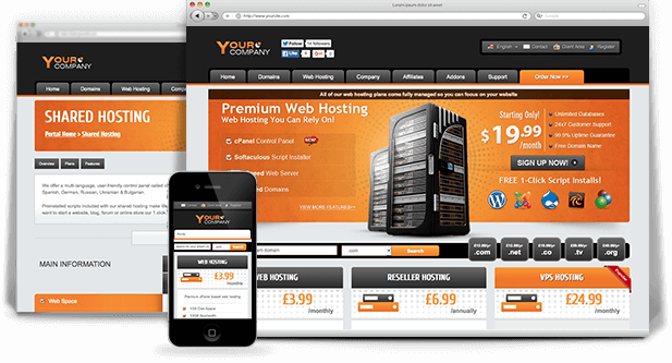 responsive HTML web hosting template
