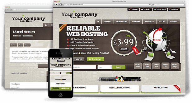 dark responsive wordpress web hosting theme