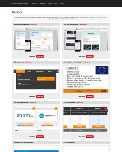 responsive web templates affiliate store