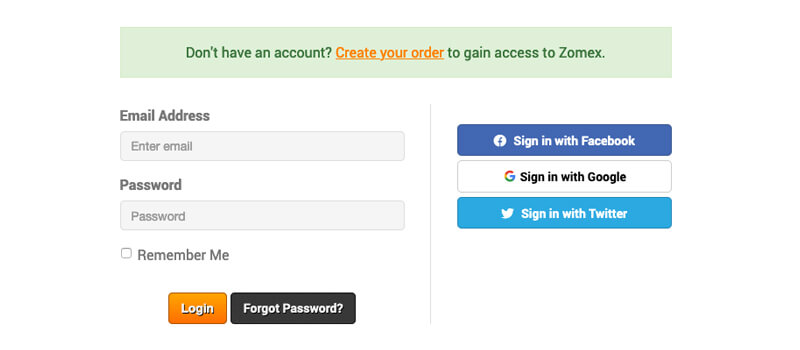 login to Zomex