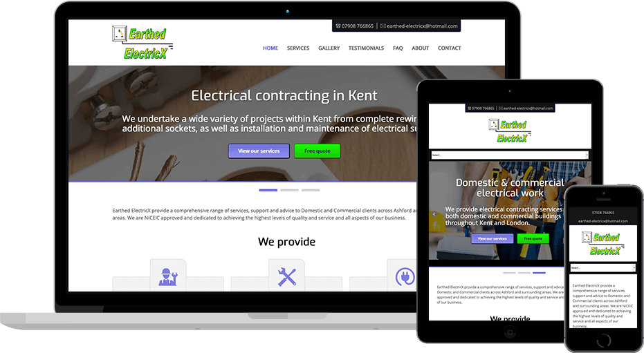 web design Earthed Electricx